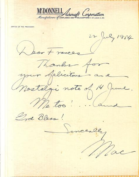 1954 July 22 - Personal note on stationary