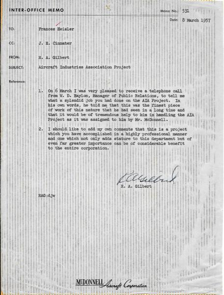 1957 March 8 - Letter to Heisler from R. A. Gilbert