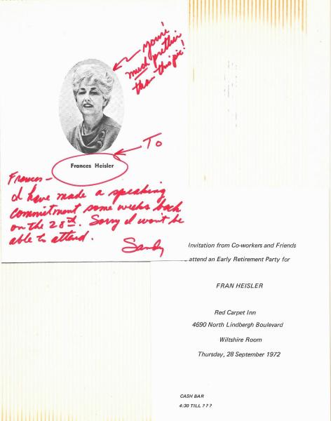 1972 September - Invitation to Retirement Party with note